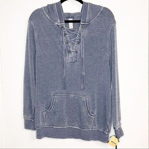 GREENTEA| NWT Washed Look Blue Lace Up Hoodie M